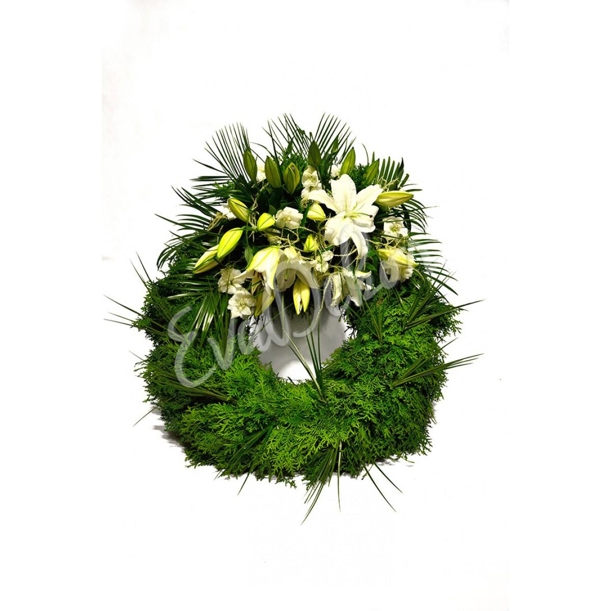 Smuteční věnec Bílé lilie - EvaDekor.cz rozvoz květin Praha