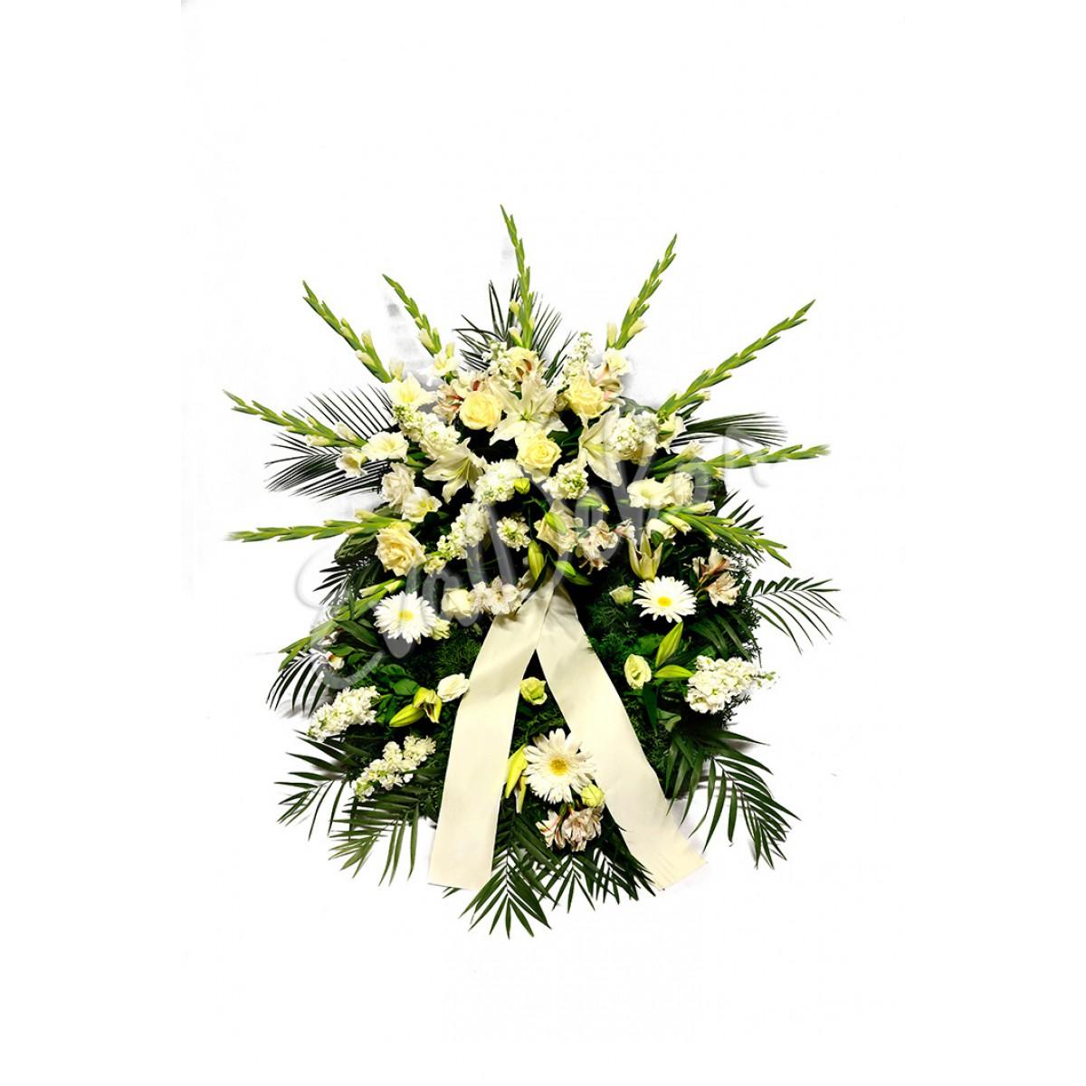 Smuteční věnec Bílé gladioly - EvaDekor.cz rozvoz květin Praha