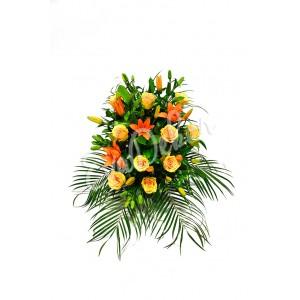 Smuteční kytice Oranžové lilie a oranžové růže - EvaDekor.cz rozvoz květin po Praze