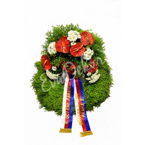 Smuteční věnec Červené anthurium - EvaDekor.cz rozvoz květin Praha