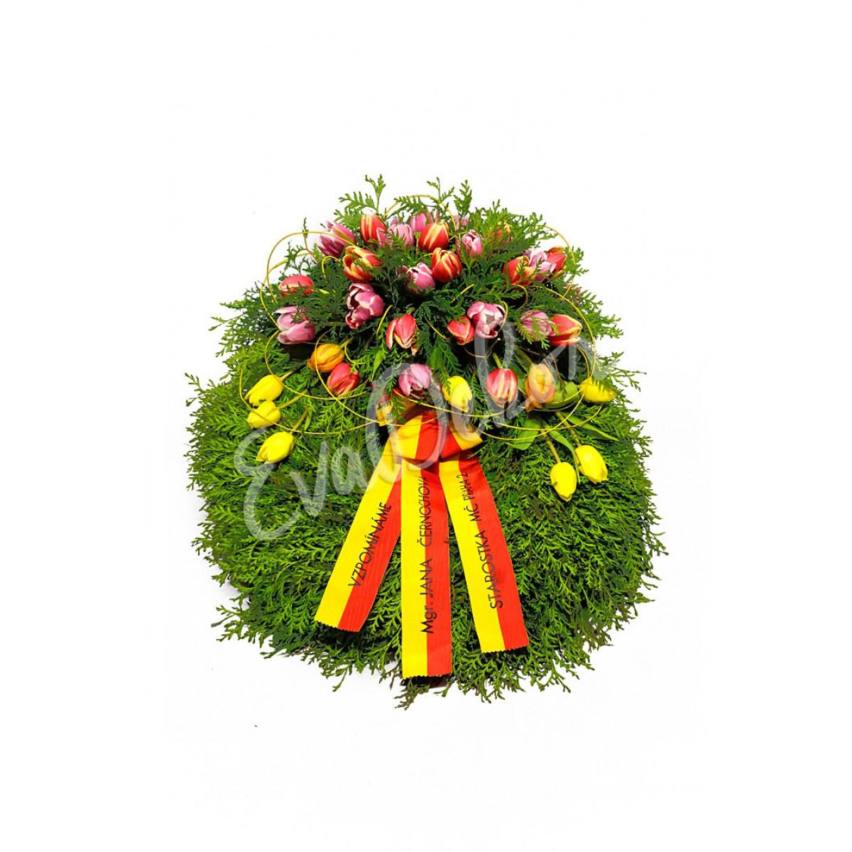 Smuteční věnec Tulipánky - EvaDekor.cz rozvoz květin Praha