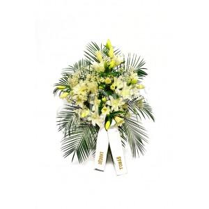 Smuteční kytice Bílé lilie a gypsophila - EvaDekor.cz rozvoz květin po Praze